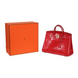 Hermes Red Alligator Birkin 35 Handbag - Circa 2011