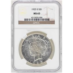 1925-S $1 Peace Silver Dollar Coin NGC MS65