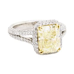 4.02 ctw Fancy Intense Yellow Diamond and White Diamond Ring - Platinum