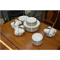 "Minton ""Bridal Veil"" bone china dinnerware with setting for twelve each of dinner, luncheon and brea"