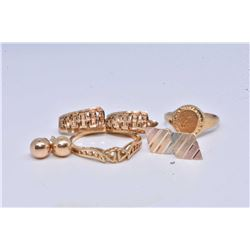 Selection of ladies gold jewellery including three pairs of earrings and two rings
