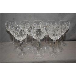 """Twelve Waterford """"Lismore"""" crystal red wine goblets"""