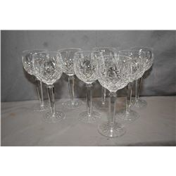 "Eight Waterford ""Lismore"" crystal red wine goblets"