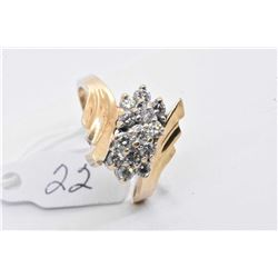 Ladies 14kt yellow gold and diamond cluster dinner ring