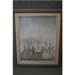 "Framed acrylic on board painting of sailing ships in harbour signed by artist Ruth, 20"" X 16"""