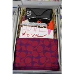 Eight Coach designer scarves and a pair of Ray Ban sunglasses with case