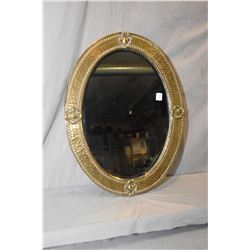 "Antique wrapped brass and bevelled glass wall mirror circa 1920, overall dimensions 22"" X 17"""