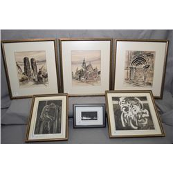 Selection of framed paintings and prints including what appear to be three original architectural wa
