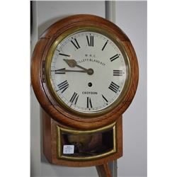 Antique British Railway , London Borough, wall clock with Fusee movement and original key, note pend