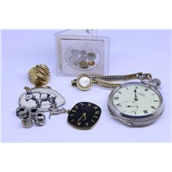 Selection of jewellery collectibles including pocket watch in British hallmarked sterling watch case