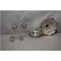 Selection of sterling silver including British hallmarked pierced dish, a pair of Birks sterling pie