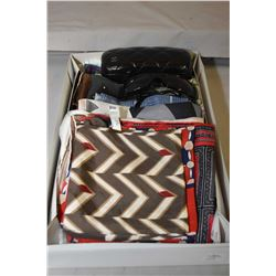 Fifteen silk scarves and a pair of Chanel sunglasses with case