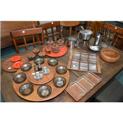 Selection of mid century Danish design tableware including stainless fondue pot with spirit burner,