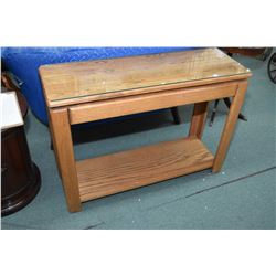 Semi contemporary single drawer oak console table with glass protector