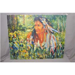 """Unframed acrylic on canvas painting of a young woman signed artist Crane Thomas, 24"""" X 30"""""""