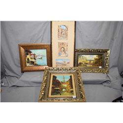 Four original framed paintings including three acrylic on board landscapes and a Middle eastern mark