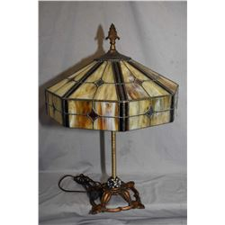 Antique cast arts and crafts parlour lamp with slag glass shade, note has been rewired