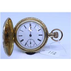 "New York Standard ""6"" size pocket watch, 11 jewel, serial # 553383, dates to 1894, full gilt plate,"