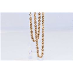 "Ladies 10kt gold twisted rope neck chain 20"" in length"