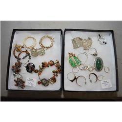 Two tray lots of earrings including sterling silver, stone etc. plus a sterling and marcasite ring s