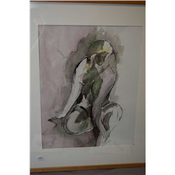 "Framed original watercolour painting of a female nude signed by artist Dr. S. Padmanab '93, 18"" X 14"