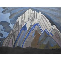 "Framed acrylic on board painting of a stylized mountain scene signed by artist Lorne Day, 20"" X 24"""