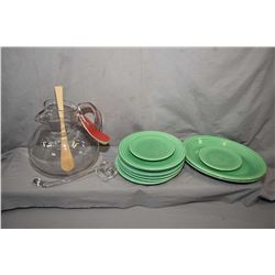Vintage hand blown glass Sangria jug with glass ladle, plus a selection of green Fiestaware plates i
