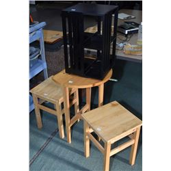 Two small matching stools, a semi contemporary flat to the wall table and a small table top rotating