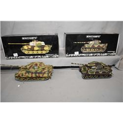 "Two Minichamps 1:35 scale die cast tanks including ""Tiger II"", new in box and retails $175.00 and a"