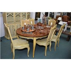 Painted shabby chic style dining suite including table, six chairs including carver and chest on che