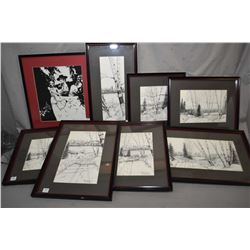 "Eight framed limited edition prints, seven titled ""White Mud Area"", all number 1/75 and one Spanish"