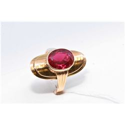 Ladies tested 14kt yellow gold ring set with large ruby/spinell type gemstone, Polish assay marks