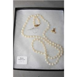"Ladies 26"" genuine single strand pearl necklace with 14kt yellow gold clasp and a pair of matching 1"