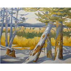 "Framed acrylic on board painting of fallen winter trees, no artist signature seen, 24"" X 30"""