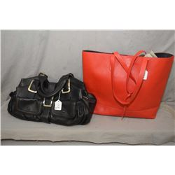Designer Cole Haan leather handbag and red leather tote
