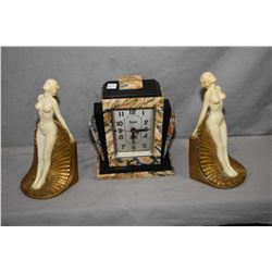 Pair of art deco nude bookends on gilt bases circa 1930 and an art deco slab marble Kenmore electric
