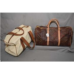 Two Escada duffle bags including canvas with leather trim and coated canvas and leather