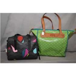 Authentic Fossil canvas and leather zippered tote and a Fossil multi coloured purse