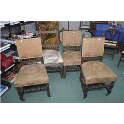 Set of four antique lion head motif dining chairs, need upholstering
