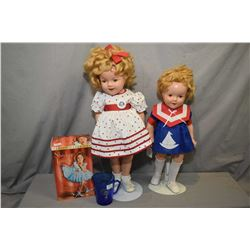 "Two vintage Ideal composition Shirley Temple dolls including 20"" and 22"" plus a boxed set of three S"