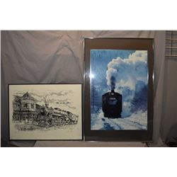 "Two framed railway prints including limited edition ""A Part of the Past"" pencil signed by artist Bru"