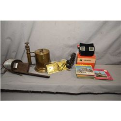 "Tray lot of collectibles including brass torch marked ""The Turner Brazing Torch, Sycamore Ill."" an a"