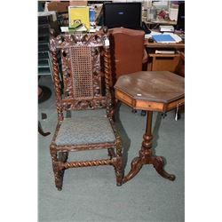 Antique center pedestal hexagonal, multi drawer table, needs tlc and an antique Jacobean side chair