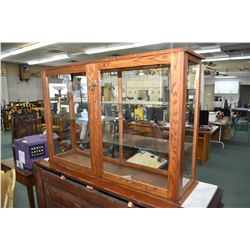 """Oak and glass counter top display unit, 31"""" in height and 48"""" wide"""