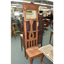 Small antique hall stand with bevelled mirror and original hooks