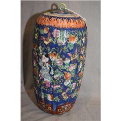 """Hand painted Oriental lidded jar 14"""" in height"""