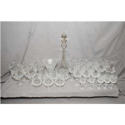 Large selection of crystal including 31 pieces of matching stemware, drinks decanter plus a pressed