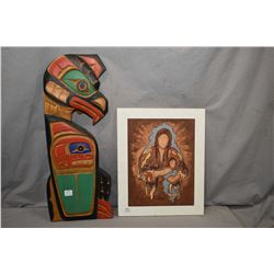"""Carved Haida wall hanging titled on verso """"Eagle & Whale, Jimmy Joseph Kwagiuth, Alert Bay, and an a"""