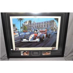 """Two framed signed limited edition prints including """"Mutual Respect- Aryton Senner and Aliane Prost'"""