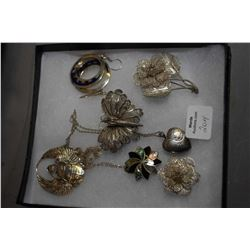 Selection of ladies silver jewellery including sterling and enamel earrings, filigree brooches, ster